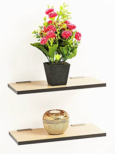 Wooden Light Brown Floating Display Wall Shelf set of 2 By Artesia  available at amazon for Rs.689