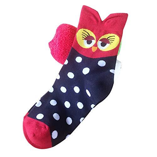 Damen Socken Baumwolle Thermal komfortable Mädchen Socken Malerei Cartoon Süße Lustige Nette Lässige Frauen Socken,Eule niedlichen Cartoon Baumwolle Damensocken 10 Paar A4 36-43 -
