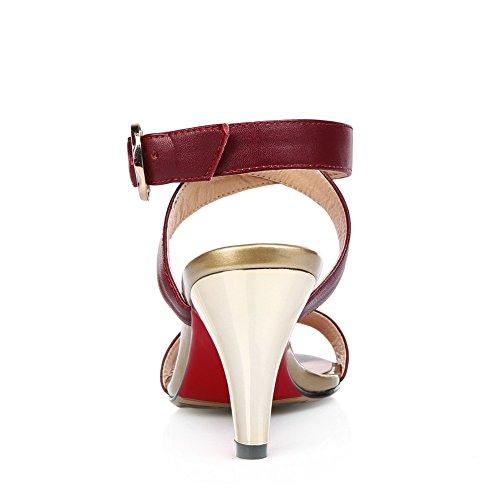 Adee , Sandales pour femme Rouge bordeaux/blanc