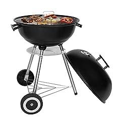 Idea Regalo - SunJas BBQ Barbecue Grill Griglia Carbone BBQ in Ferro Giardino Barbecue Grill con 2 Vassoio (45 x 46 x 20,5)