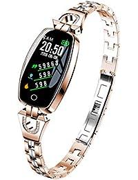 ZEERKEER Intelligente Armbanduhr für Frauen FitnessTracker Kette Jewlrey Herzfrequenzüberwachung Kalorienzähler Schrittzähler Wasserdicht Nachricht Erinnerung Gold