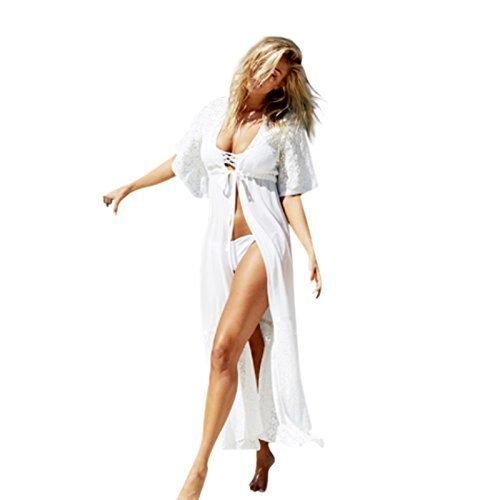 Live It Style It Damen Chiffon Kimono-Strickjacke Hemd Strand Umhang Bikini Bedecken Spitze Kimono - Weiß, Small