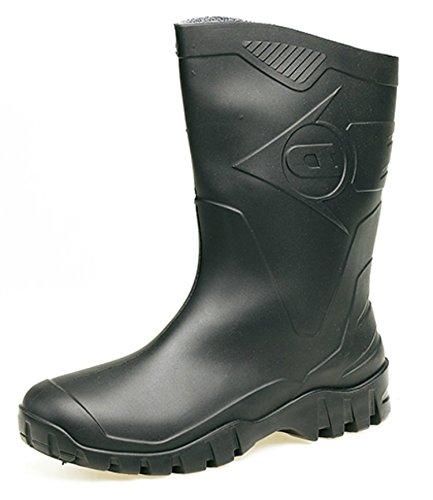DUNLOP HALF-HEIGHT-WIDE CALF SHORT WELLY (6 UK, Black)