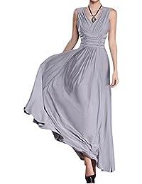 Moollyfox Maxi Vestido de Cóctel, Color Sólido Largo Vestidos de Cuello Pico de Fiesta Playa para Mujer Gris XXXL