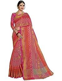 Pisara Women Banarasi Cotton Silk Saree With Blouse Piece,Peach & Orange Sari