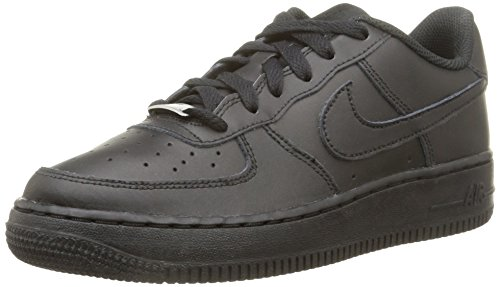 Nike Unisex-Kinder AIR FORCE 1 (GS) Low-Top, Schwarz (009 Black), 37.5 EU - Vintage Frauen Schuhe Nike