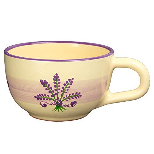 City to Cottage   Tasse à café, à thé, à soupe   beige à motif lavande en céramique avec anse faite et peinte à la main   Très Grande 500ml