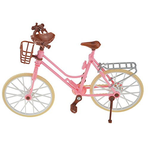 ASIV Mode Rose Plastique Détachable Vélo avec Panier Réglable Casque et Rotatif Roues pour Poupées Barbie 4bcef406-50ca-4667-a5b2-4476a1283af4