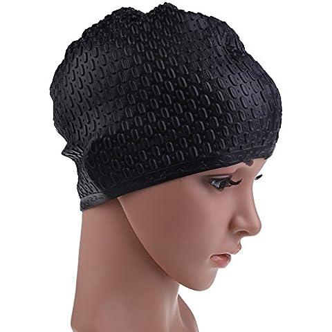 ETGtek(TM) Cap del pelo de silicona nadar largas a prueba de agua gotas de agua de la cubierta antideslizante Submarinismo Piscina Hat para mujeres y los hombres-Negro