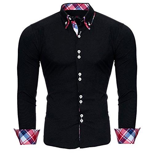 Reslad Herren Hemd Slim Fit Bügelleicht Ideal für Anzug, Business, Hochzeit | Freizeithemd Langarm Männer-Hemden RS-7015 Schwarz L