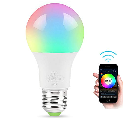 GULEHAY Bombilla LED de WiFi inteligente, multicolor, regulable, control remoto, sin cables, compatible con Alexa y el Asistente de Google [4.5W]