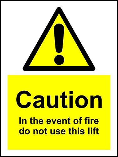 Nicht Verwenden, Lift (Vorsicht in der Event Of Fire Verwenden nicht dieses Lift Safety Signs-3mm Aluminium Schilder 300mm x 200mm x 200mm)