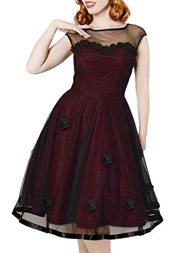 MIUSOL Abendkleid Mesh Brautkleid Retro Cocktailkleid Rockabilly Party 50er Jahr Kleid Weinrot - 4