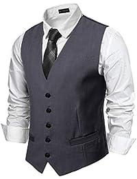 YCUEUST Uomo Single-Breasted Plain Classici Senza Maniche Gilet Ufficiali  Waistcoat c08d252093c