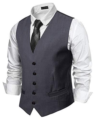 YCUEUST Uomo Single Breasted Plain Classici Senza Maniche Gilet Ufficiali Waistcoat Grigio Small