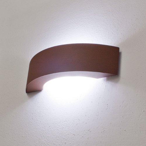 LuminalPark Applique murale à LED blanc, demi-lune, 9W, couleur rouille, usage en extérieur