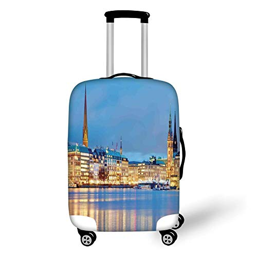 Travel Luggage Cover Suitcase Protector,Cityscape,Old Town by The River in Germany Nostalgic Tower Culture Baroque Heritage Deco,Multi,for Travel,M