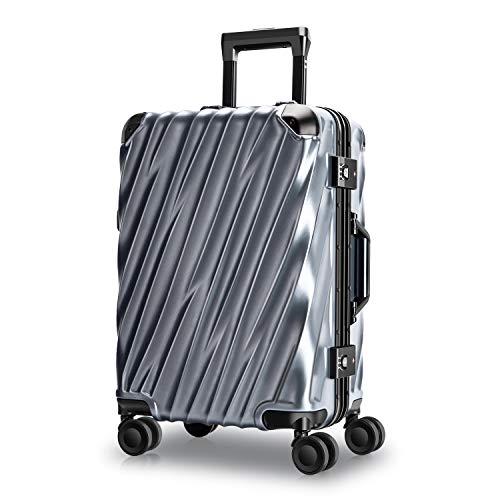 MORIOU Hartschale handgepäck Koffer S-45L mit Aluminiumrahmen Reisekoffer Polycarb...