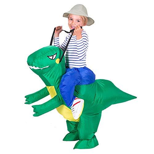 HUIHUI Dino Kostüm für Kinder Aufblasbar Kostüme Karneval lustige Kleidung Dinosaurier T-Rex Cosplay (One Size, Grün)