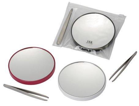 Fancy Metal Goods - Pack Miroir Grossissant (x 15) avec Pince à Epiler et Petite Pochette