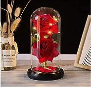 زهرة دائمة بصندوق هدايا زجاجي من يو بايز، اضاءة LED، لعيد الحب وعيد الام واعياد الميلاد وهدايا الاعياد الاخرى