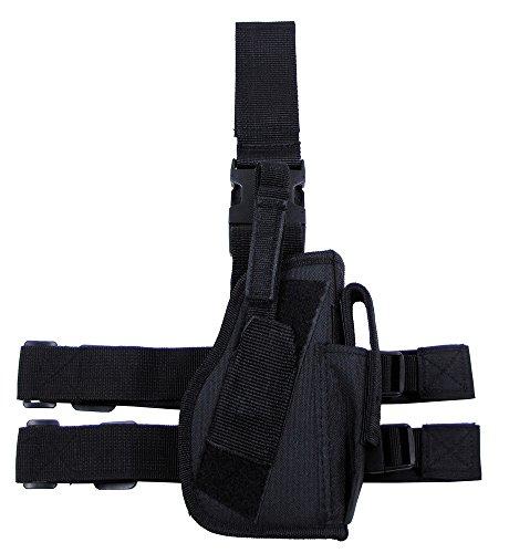 Kostüm Band Militär - Pistolenbeinholster, schwarz, Bein- und Gürtelbefestigung, rechts ...