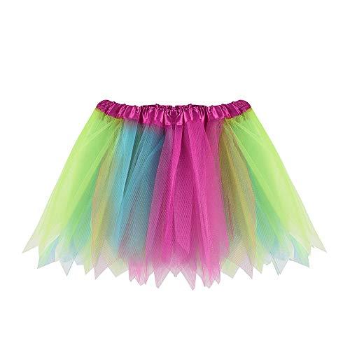 WOZOW Mädchen Tüllrock Gradient Bunt Multi-Schichten Prinzessin Kurz Kleider Elegant Tanzkleid Minirock Dancewear Festliche Fasching Röckchen