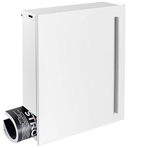 Design-Briefkasten mit Zeitungsfach 12 Liter signal-weiß (RAL 9003) MOCAVI Box 110 Wandbriefkasten Postkasten