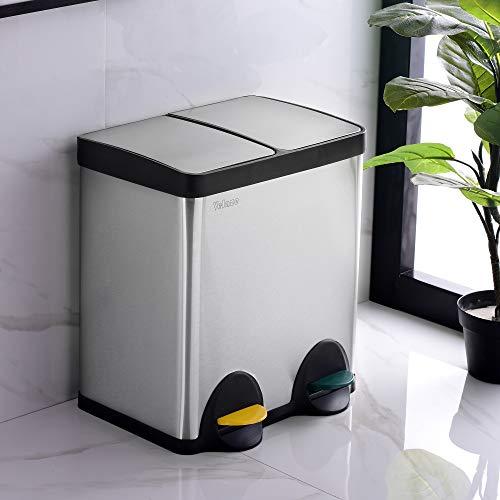 Velaze Mülleimer aus Edelstahl, 60 L bruchsichere Treteimer mit geruchdichtem Deckel, Abfalleimer mit 2 Inneneimern für Küche, Silber