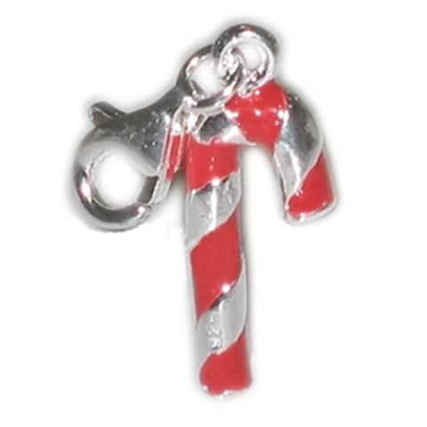 Candy cane clip auf charm 925 sterling Silber Emaille Charms