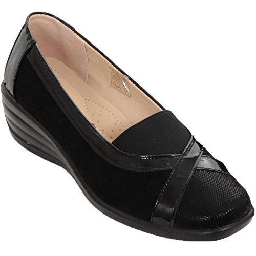 Fantasia Boutique Femmes àélastique Verni Contraste Bas Faux Daim Semelle Compensée à Enfiler rembourré Chaussures