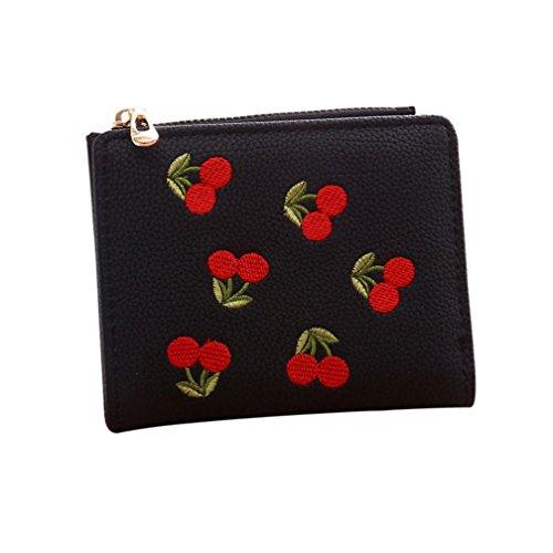 Sacchetto di moneta della ragazza del ricamo di OHQ, borsa della borsa della borsa della moneta del raccoglitore delle donne (Rosa) Nero
