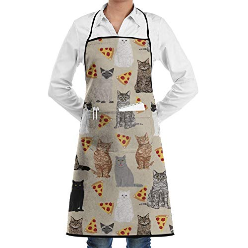 SDGSS with Pocket Apron,Pizza Cats Adjustable Apron with Pocket & Extra-Long Ties, Men and Women Kitchen Apron for Cooking, Baking, Crafting, Gardening, BBQ