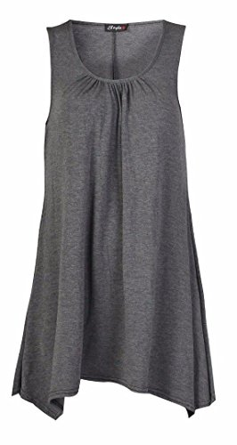 FK Styles Frauen Kleid Plus Größe Ärmellos Plain Viscose Jersey Swing Holzkohle