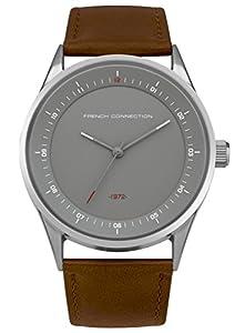 French Connection PU SFC111T - Reloj de cuarzo para hombres con esfera gris y correa marrón de cuero de FRENCH CONNECTION
