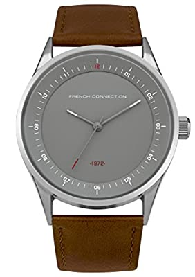 FRENCH CONNECTION Men's SFC111T Quartz Watch with Grey Dial Analogue Display and PU Strap