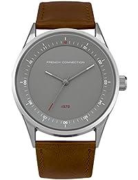 French Connection PU SFC111T - Reloj de cuarzo para hombres con esfera gris y correa marrón de cuero