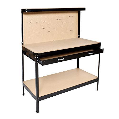 HENGMEI Werkbank Werkzeugbank mit Schublade Werktisch Lochwand für hängende Werkzeuge 115x60x155cm - Arbeitstisch bis 100kg belastbar für Hause, Werkstatt, Garage