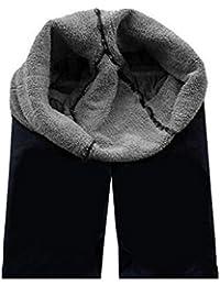 Miya® THERMO - Leggings (muy elásticos y suaves, interior con lana espesada, calientes), diseño moderno, color negro, M-L