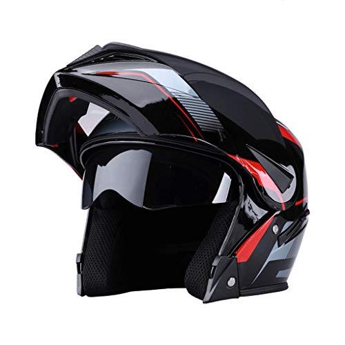 OUTO Aufdeckender Helm Schwarz Anti-Fog-Spiegel Motorrad Integralhelm Multifunktions Männlich Weiblich Super Schutz (Farbe : Bright Black Lines)