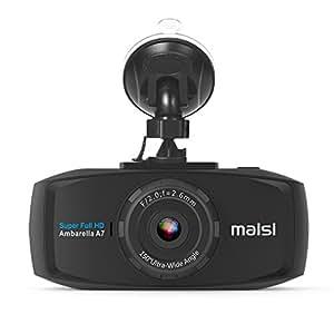 Maisi 2K Extreme HD Pro 1296P de voiture Dash Camera, écran 6,9cm Voiture Tableau de bord Cam avec détection de Collision et d'enregistrement d'urgence–Résolution Augmenté de 50% par Rapport aux 1080p