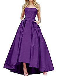 Gorgeous Bride Einfach Traegerlos Hi-Lo Satin Lang Abendkleid Promkleid Abendmode
