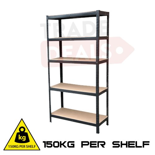Boltless pesanti officina/garage/shed/shop/home/commerciale rack/scaffale/bay – 150 kg per ripiano – nero – 70 cm (w) x 30 cm (d) 150 cm (h)