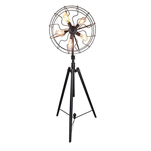 Lámpara de pie Ventilador retro industrial Lámpara de suelo trípode de hierro...