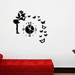 Idea Regalo - Garwarm 3D Fashion Moderno Creativo Rimovibile Decorativo Acrilico Senza-cornice Specchio Parete Arte Sughero Adesivo Murale orologio per Casa Ufficio Decorazione Ragazze Ragazzini Soggiorno Cameretta-Black Butterfly & Fata