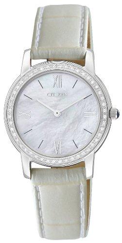 Citizen - EG3200-12D - Montre Femme - Quartz Analogique - Cadran Nacre - Bracelet Cuir Blanc - 48 diamants véritables