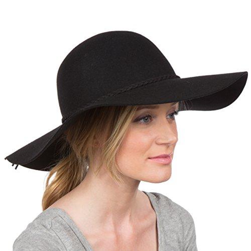 Sakkas 2041SS Greta Vintage Style Wolle Floppy Hut - Schwarz - One Size -