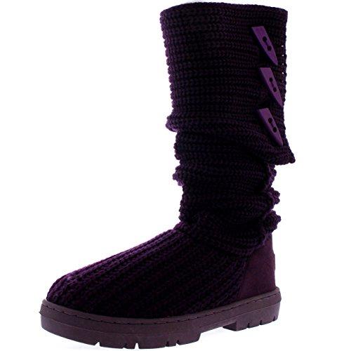 Damen Button Knitted Cardy Classic Pelz Gefüttert Winter Schnee Regen Stiefel Violett Gestrickt