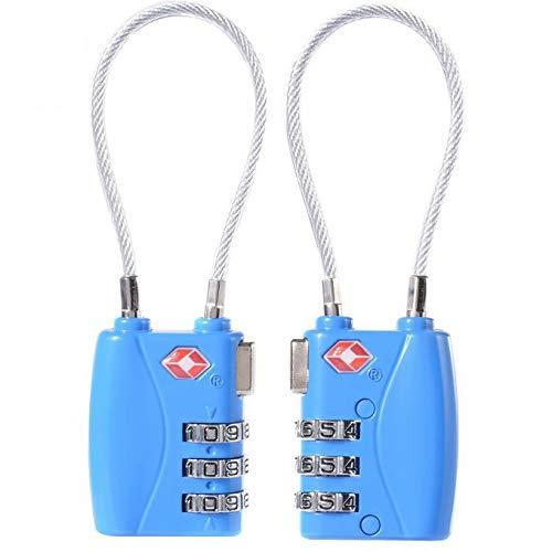 Donjon TSA approvato viaggio lucchetti, lucchetto con combinazione a cifre cavo di sicurezza lucchetto ... (blue)