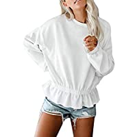 Camisa Larga Mujer Tops Deportivos Fiesta Sexy Moda Moda para De Manga Sudadera con Volantes Dobladillo Blusa TúNica Camisas
